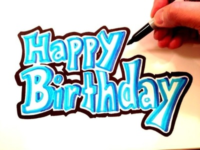 How to Draw Happy Birthday in Blue