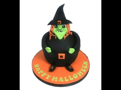 How to make a Halloween Witch Giant Fondant Cupcake Cake Decorating Tutorial