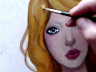 [Kat Can Paint] How to Paint Hair (strawberry blond) start to finish -- free painting tutorial