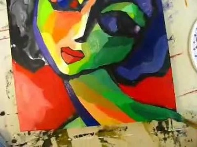Painting Original Abstract Portrait in acrylics by artist Martina Shapiro