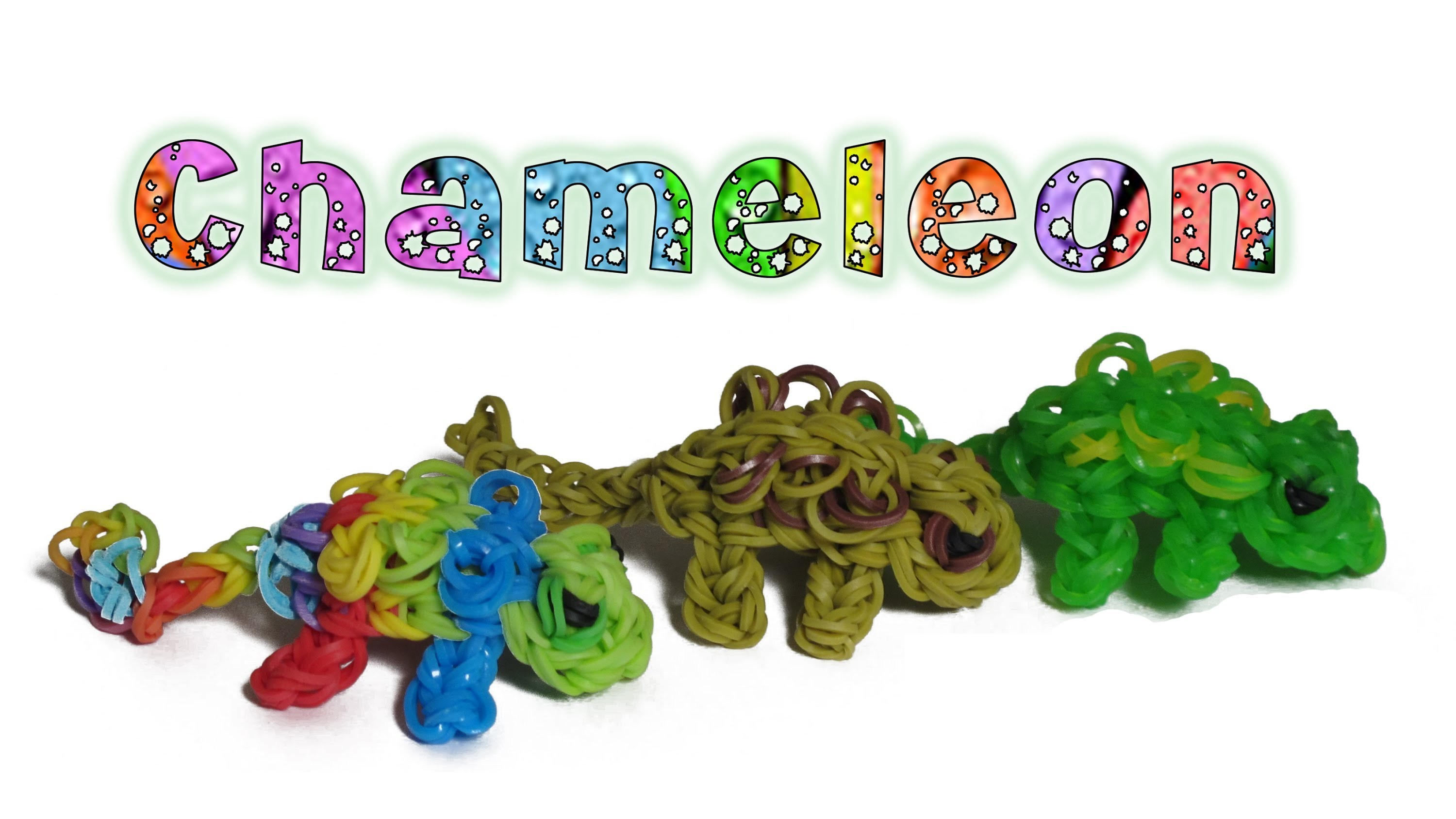 Rainbow Loom 3D Chameleon charm.Figure - How to - Animal Series