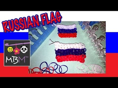 Rainbow Loom or Alpha Loom Band  Russian Flag Charm Tutorial