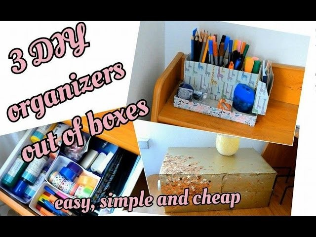 3 DIY room organizers out of boxes | tinaDIYMania