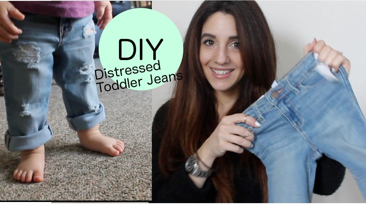 DIY Distressed Boyfriend Jeans (Toddler Version)