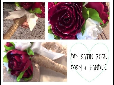 DIY Satin Rose Posy with Burlap String Handle