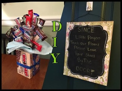DOLLAR TREE DIY'S! | CANDY BOUQUET & DOOR SIGN