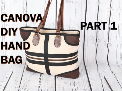 Canova 1, boat top zip, Pockets, leather handle. DIY Bag Vol 24A