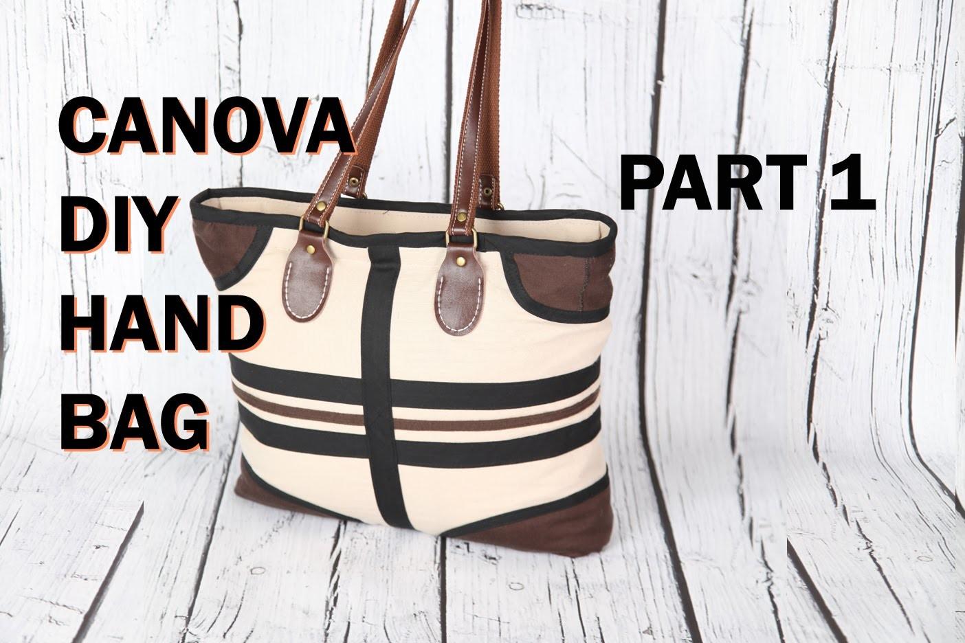 Canova 1, boat top zip, Pockets, leather handle. DIY Bag Vol 24A