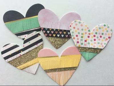 Fringed Heart DIY Scrapbook Embellishments DT Project Not2ShabbyShop