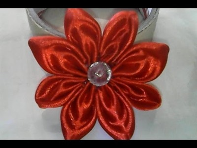 DIY-cara membuat bunga sederhana dari pita satin-how to make a simple flower of satin ribbon