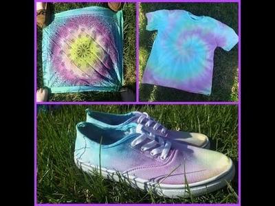 Diy tie-dye: shoes. T-shirt. Bandana