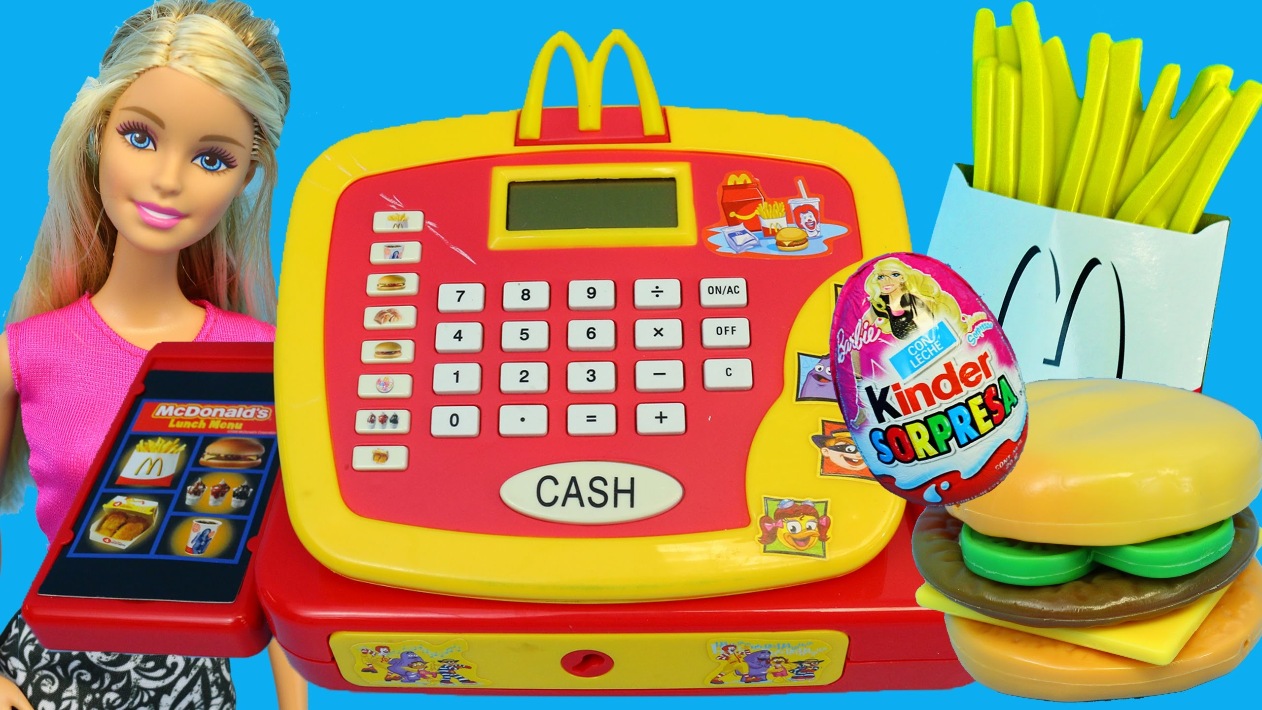 McDonalds CASH REGISTER + Buying Surprise Toys & DIY Play Doh McDonalds Food Ice Cream DisneyCarToys