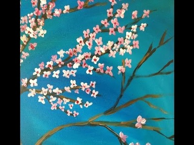 DIY : Acrylic Painting of Japanese Cherry Blossoms