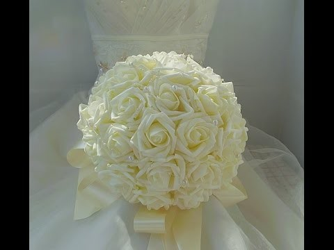 #1 DIY How to Make Your Cheap Wedding Brooch Bouquet Real Touch Roses Part 1