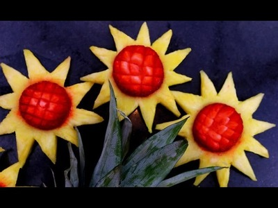 How It's Made Pineapple Strawberry Sunflowers | Fruit Carving Garnish | Party Garnishing