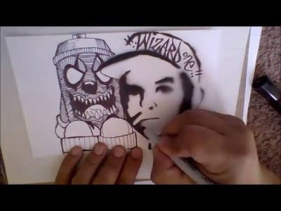 How to draw a Spray Can Clown character on a Sticker collab -Como dibujar un sprayde pintura