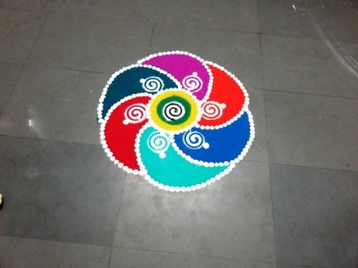 How to make fresh colour rangoli design