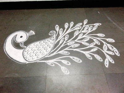How to make white peacock rangoli design
