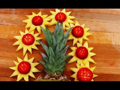 How To Make Yellow Sunflower Garnish    Fruit Carving   Party Food Decoration