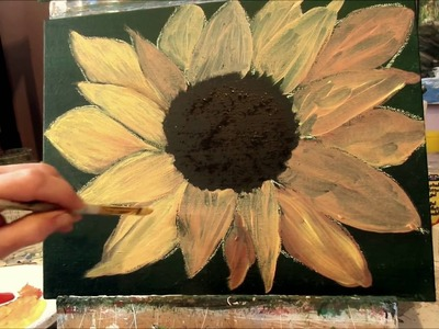 How to paint a sunflower with acrylic paint Lesson 2, step by step