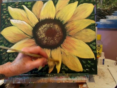 How to paint a Sunflower with Acrylic Paint Lesson 4, finished