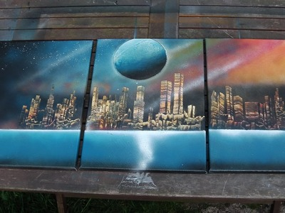 How to Spray Paint Art - 3 Canvas Painting