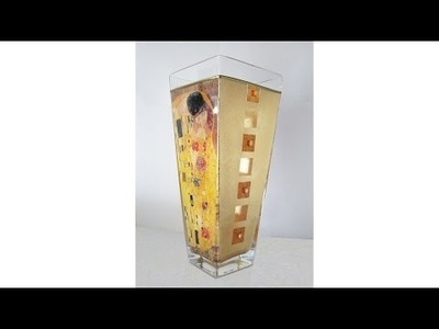 Decoupage on glass tutorial  - DIY. Decoupage and Gilding. How to make gold things.