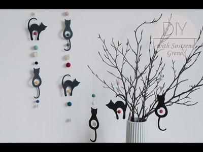 DIY: Hanging paper decorations with cats by Søstrene Grene