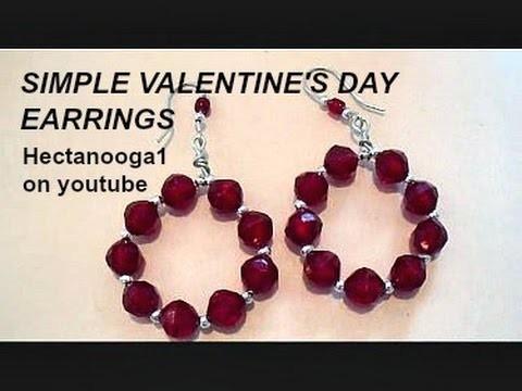 How to make Valentine's Day hoop diy earrings, jewelry making, step by step video tutorial, #1207