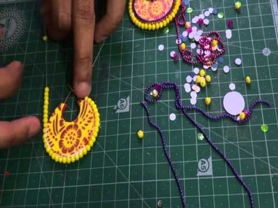 How to stick beads to the chandbali base