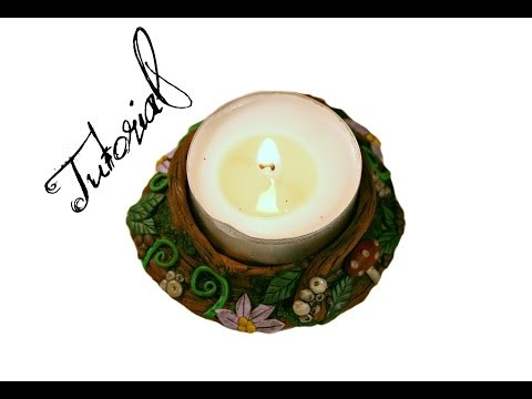 Polymer Clay Candle Holder | Fairy Forest Fantasy DIY Ornament.Gift | Faux Wood | Velvetorium