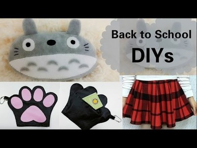 School DIYs: DIY Totoro Pencil Case+DIY Cat Paw coin Leather Purse+Quick Fix on Plaid skirt