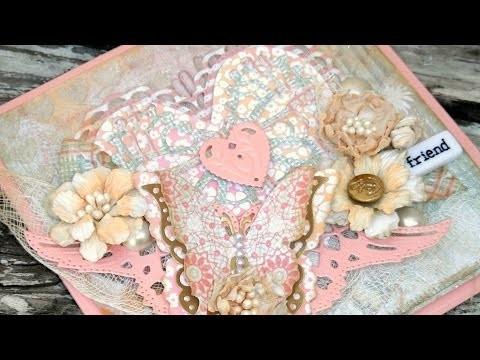 Shabby Chic Heart Valentine's Card - DIY Glitter Paste, Layered Butterflies & Handmade Flowers