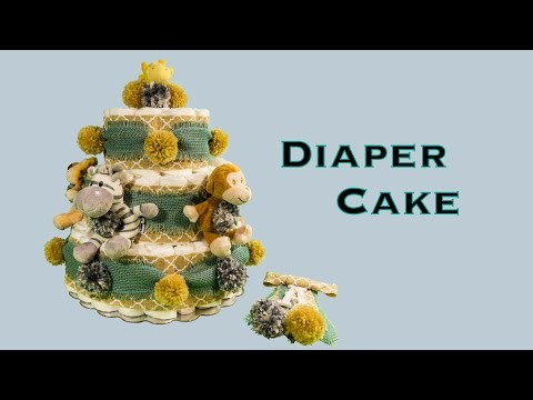 DIAPER CAKE & CORSAGE Baby Boy Shower Gift (DIY, How to Make, Rolled Diaper Method)