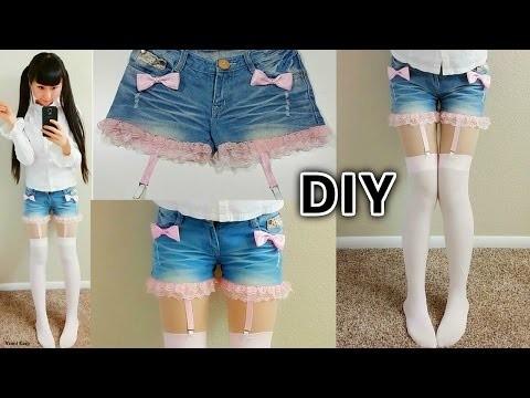 DIY Lace up Suspender Garter Shorts | DIY Harajuku Japanese Fashion