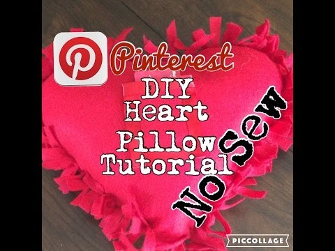 No Sew Heart Pillow DIY Pinterest Tutorial