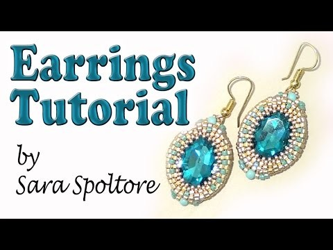 BeadsFriends: earring tutorial - Oval crystal bezel - DIY earrings