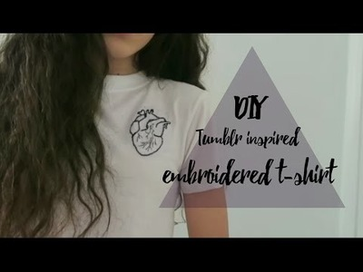 DIY embroidered t-shirt (anatomical heart). tumblr and brandy melville inspired