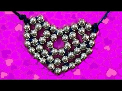 Hearts charm. Diy crafts ideas tutorials. how to make a heart with silver beads. To sell from home