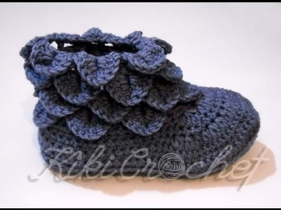 Crochet Crocodile Stitch Booties, Adult Size (pt1)