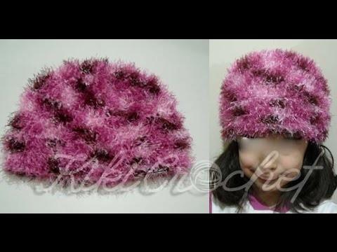 Crochet Easy Beanie with Eyelash Yarn (english tutorial)