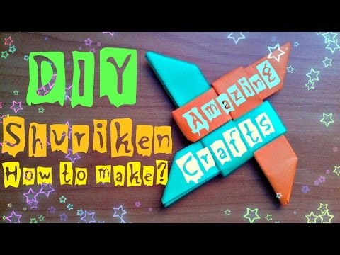 DIY How To Make Origami Shuriken. Easy Craft Real Ninja Star From Paper For Children. Instructions