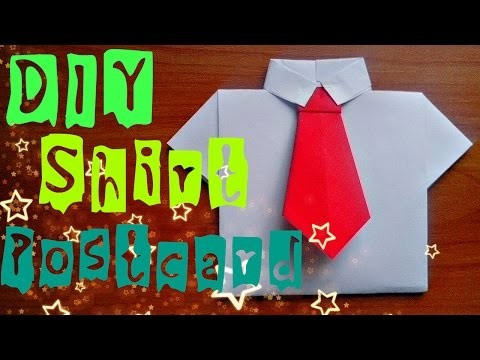 DIY How To Make Paper Shirt Easy. Origami Craft Postcard For Children. Fathers Day Gifts and Ideas