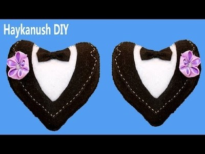 Felt Tutorial Heart in Tuxedo ❀ Haykanush DIY