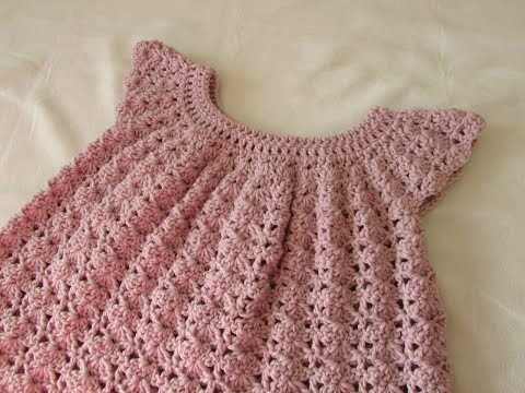 How to crochet a little girl's shell stitch dress. top. tunic