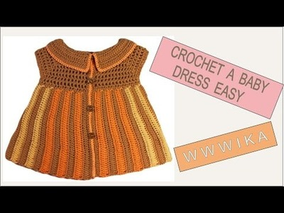 How to crochet baby dress easy Free pattern tutorial