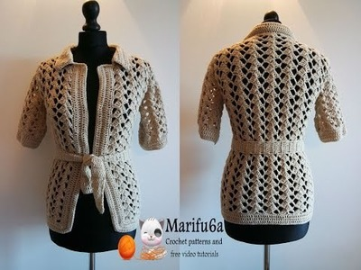 How to crochet beige jacket free tutorial pattern by marifu6a