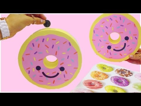 How to make a piggy bank(money box)Donut-DIY Doughnut piggy bank tutorial