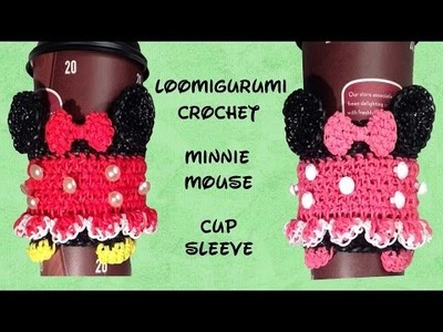Loomigurumi. Amigurumi - Minnie Mouse Coffee Cup Cozy Sleeve - Rubber Band Crochet - Rainbow Loom