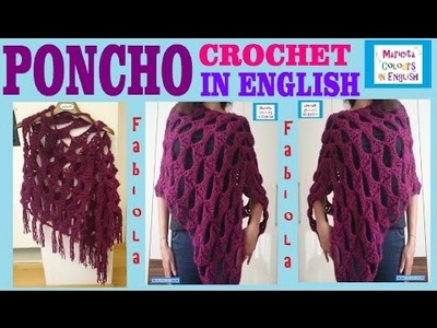 "Poncho Crochet Pattern Cape Rectangle ""Fabiola"" by Maricita Colours in English"